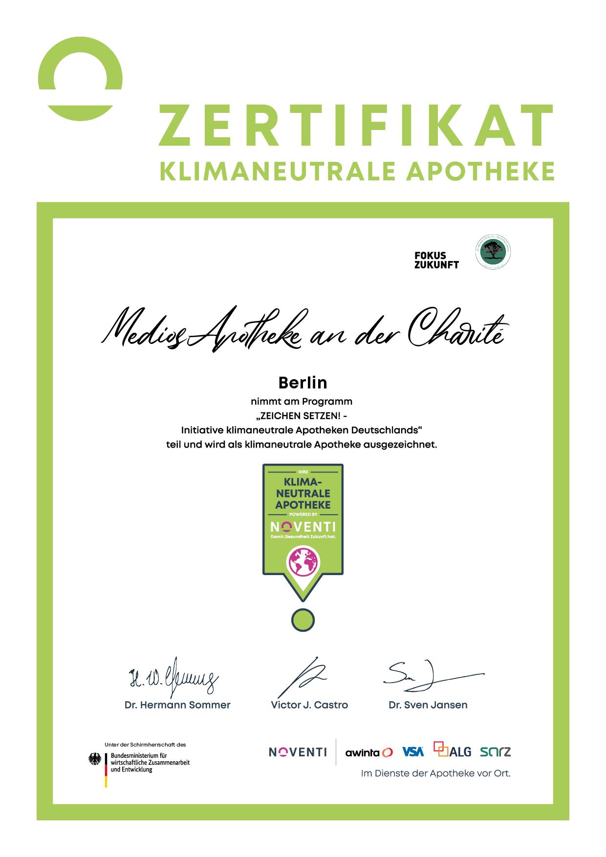 MediosApotheke Noventi Auszeichnung Umweltschutz